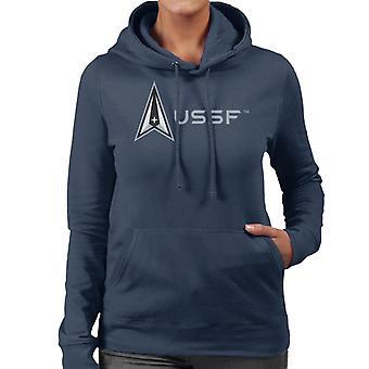 U.S. Space Force Lighter Logo Alongside USSF Text Women's Hooded Sweatshirt