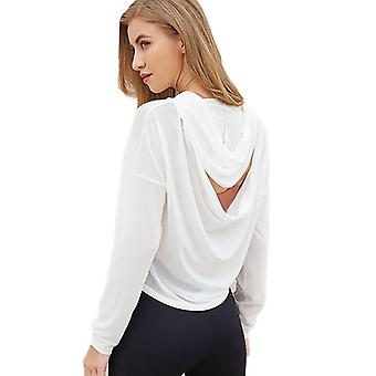 Gym Jersey Open Back Sport Sweatshirt, White Pullover Fitness Running Hoodie