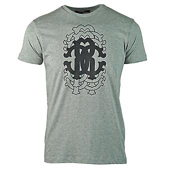 Roberto Cavalli Repetition Logo Grey T-Shirt