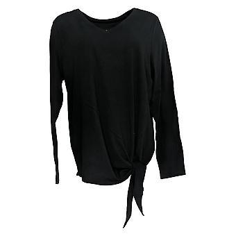 Anybody Women's Top Long Sleeve Side Tie Black A372098