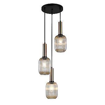 Moderne hangende hanghanger Messing 3 Licht met Amber Shade, E27