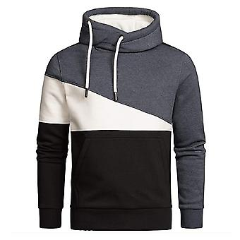 יאנגפאן Mens קולור בלוק סוודר קפוצ'ון אופנה אתלטי שרוול ארוך סווטשירט
