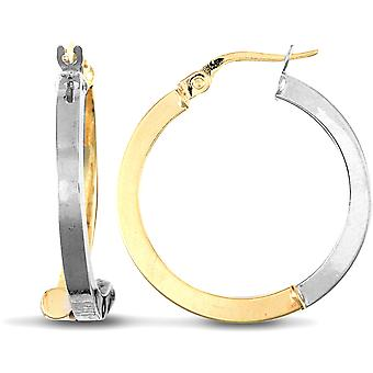Jewelco Londen dames 9ct geel en wit goud crossover offset 2.5 mm hoepel oorbellen 25mm