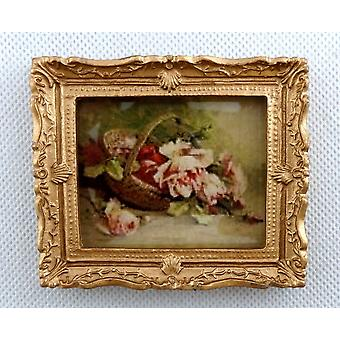 Dolls House Basket Of Roses Painting Gold Frame Miniature Accessory