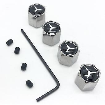 Mercedes Set of 4 Chrome Anti-Theft Car Tyre Air Dust Valve Stem Cap With Allen Key