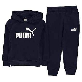 Puma Essential Logo Kids Hooded Jogger Sports Sweat Suit Tracksuit Navy Blue