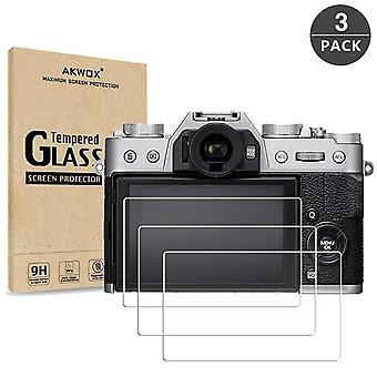 Akwox (förpackning med 3) härdat glas skärmskydd för fujifilm x-t20 x-t10 x-a1 x-a2 x-m1 x-e3 x30,