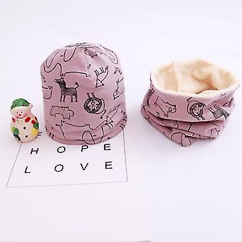 Plush Hat Scarf Set,print Neck Cotton