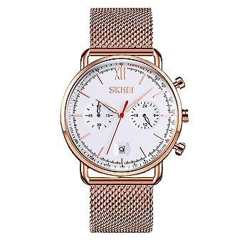 Skmei Multi Dial Elegant Mens Watch Date Display Rose Gold Clear Comfortable SK9206GW