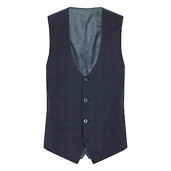Lanito Navy Check Suit Waistcoat