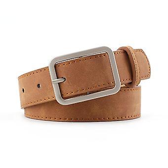 Cinto de cinta de cintura de couro, cintos de fivela de metal da praça para jeans