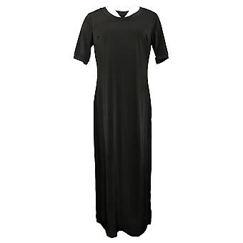 GILI Petite Dress Short-Sleeve Side Slit Maxi Black A304669