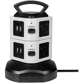 Surge Protected 6 Sockets with 4 USB Tower Black Extension Lead