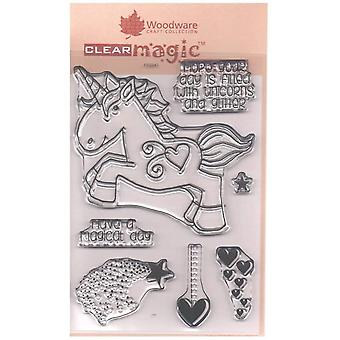Woodware Clear Singles Unicorn 4 in x 6 in Stamp