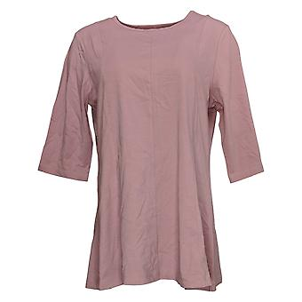 Denim & Co. Mulheres's Top Essentials Round Neck Fit&Flare Tunic Pink A374656