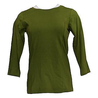 Bob Mackie Women's Top (XXS) Scoop Neck 3/4 Sleeve Knit Top Green A293822