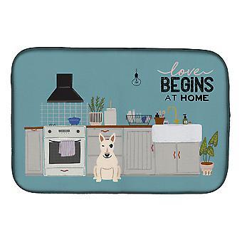 Carolines Treasures  CK7842DDM White Bull Terrier Kitchen Scene Dish Drying Mat