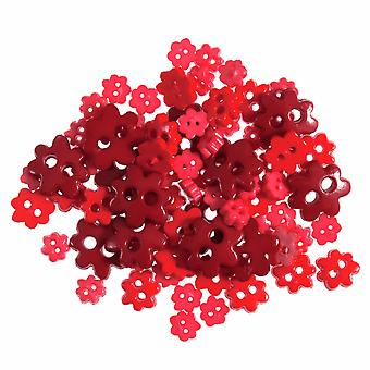LAST FEW - 2.5g Red Mini Flower Buttons for Sewing and Haberdashery