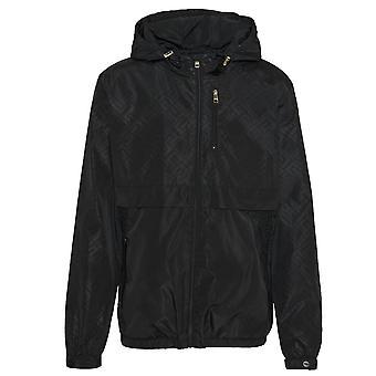 Glorious Gangsta   Regio 6982 Flock Logo Lightweight Windbreaker Hood Jacket - Black