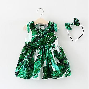 Летние детские платья, новорожденные Одежда Младенец Платье-головные уборы