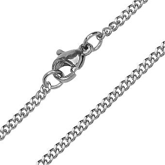 Finished Curb Chain Necklace, Flat Links with Lobster Clasp 2mm, 24 Inches, Stainless Steel