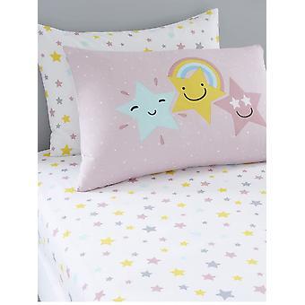 Hello Star Double Roze Hoeslaken en Kussensloop Set