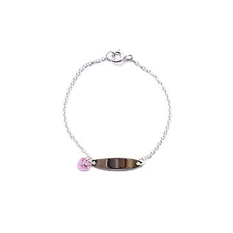 Begin 925 Sterling Zilveren Childrens Gegraveerde ID Bar Tag Pink Heart Crystal Charm Armband Lengte 14cm