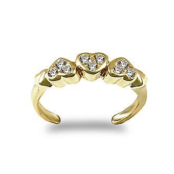 جويلكو لندن السيدات الصلبة 9ct الذهب الأصفر الأبيض جولة رائعة الزركونيا مكعب ثلاثية تمهيد الحب قلوب تو خاتم