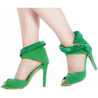 High Block Heel Sandal Women's Flocking Upper Shallow Side Zipper Women's Shoes(7.5)