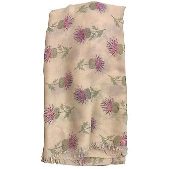 Cream Thistle Cashmere Blend Scarf by Butterfly Fashion London