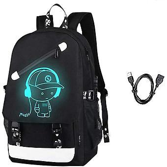 Anime Leuchtender Rucksack Noctilucent Schultaschen Tagesrucksack USB-Aufladen Port Laptop Tasche Handtasche für
