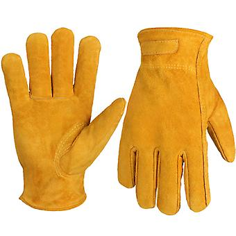 Cowhide Split Leather Work And Driver Gloves, For Heavy Duty, Truck Driving, Warehouse, Gardening, Farm Extra Grip Flexible Warm For Working In Cold W