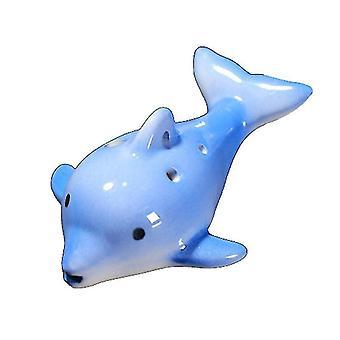 Cartoon Dolphin 6 Hole Ocarina Flute Wind Musical Instrument Flute Ceramic(Blue)