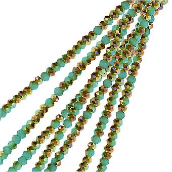 Crystal Beads, Faceted Rondelle 1.5x2.5mm, 2 Strands, Turquoise Blue w/Half Champagne Luster