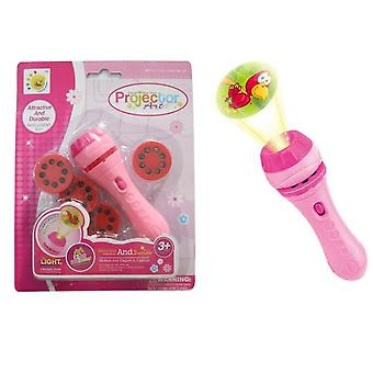 Children's Projection Flashlight Early Education Projector(Pink)