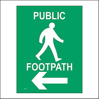 GE546 Public Footpath Sign with Man Walking Arrow Pointing Left