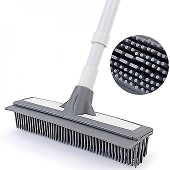 Soft Plastic Head Adjustable Floor Cleaning Brush Long Handle Floor Cleaning Tool With Wiper Strip
