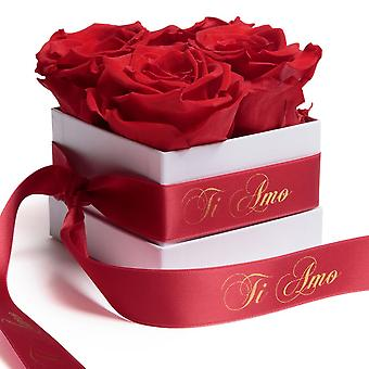 Blommor Box Wei Eternal Roses Hållbar 3 år Röd Ti Amo Gåva
