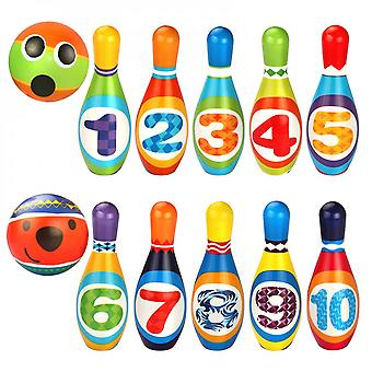 Bowling Play Set Foam Ball Toy Gift Educational 10 Pins 2 Ball Indoor