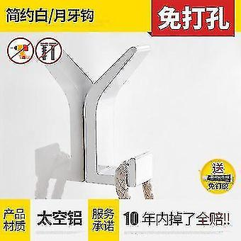 Bathroom accessory sets space aluminum kitchen bathroom bathroom hook coat and hat hook nordic black non-punching white