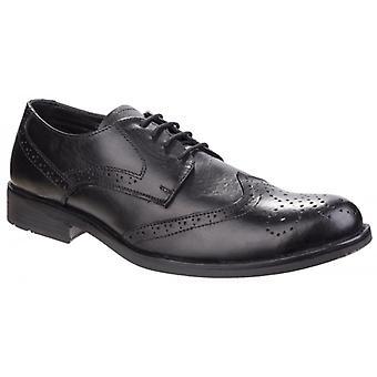 Fleet & Foster Tom Mens Läder Oxford Brogue Skor Svart