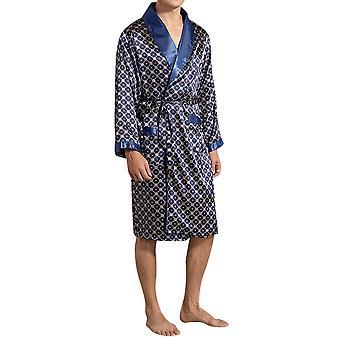 Homemiyn Men's Check Lace Pajamas Robe Nightgown Skin-friendly Soft And Comfortable Homewear