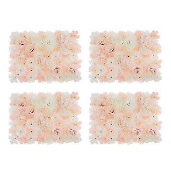 ذكرى زواج جدار الوردة الاصطناعية 4 قطع ديكور زفاف Diy، منطقة صور -60 × 45 × 7 سم