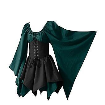 Robe d'Halloween Femmes Costumes de Cosplay Médiévaux Gothique Rétro Manches Longues Robe Corset