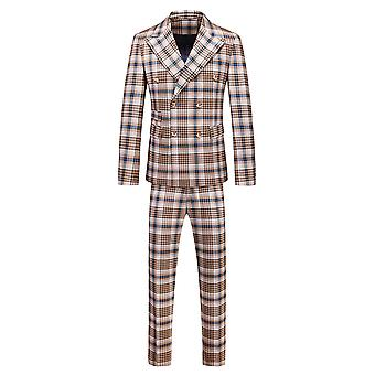 Mile Mens 2 Piece Striped Pplaid Suit Slim Fit Double Breasted Blazer And Pants Solid Color Prom Tuxedo