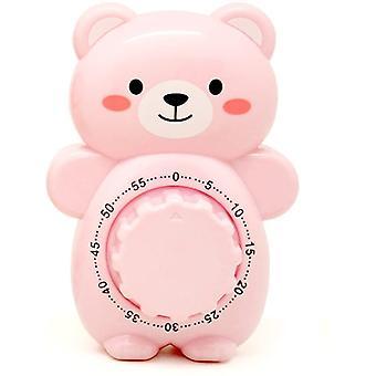 Lindos temporizadores de oso de dibujos animados 60 minutos cocina mecánica Temporizador de cocina Reloj de alarma fuerte Contadores de alarma Temporizador manual (rosa)