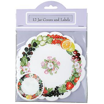 Traditional Jam / Preserves Jar Cover & Labelling Set, Pack of 12