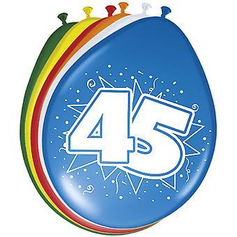 Ballon bunt Luftballons Zahl 45 Geburtstag 8 St. Deko Ballons Party