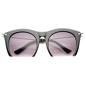 Womens Cateye High-Fashion halbrandlosen Metall Waffen Sonnenbrillen
