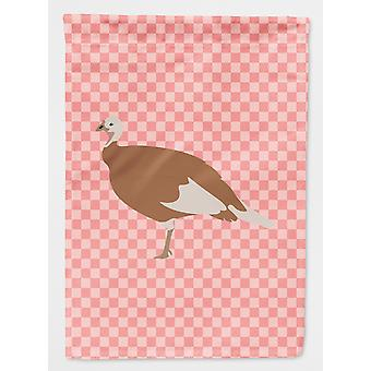 Carolines Treasures  BB7984GF Jersey Buff Turkey Hen Pink Check Flag Garden Size